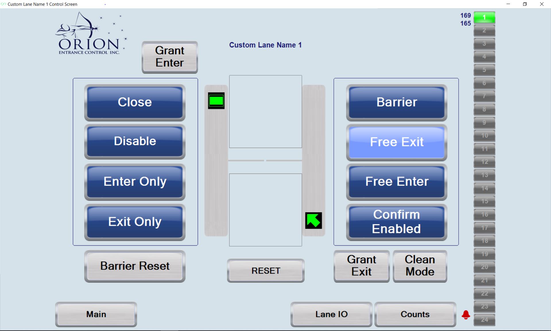 Lane Control Screen