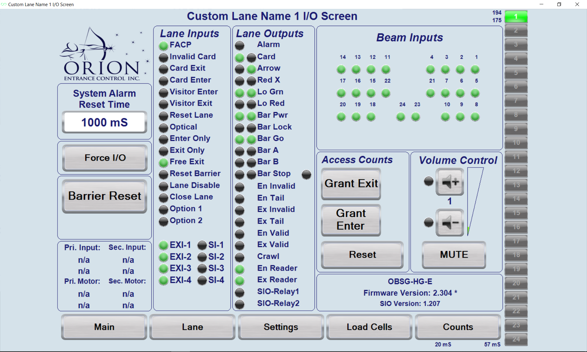 Lane Inputs-Outputs Screen and Volume Control